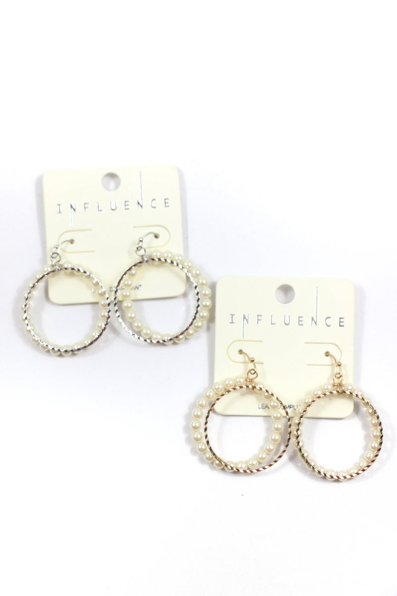 More Than This Metal And Pearl Double Hoop Earring In Multiple Colors