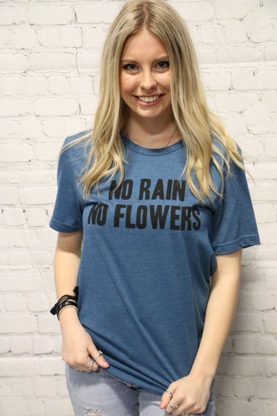No Rain No Flowers Graphic Tee In Teal- Sizes 4-10*PRE-ORDER*