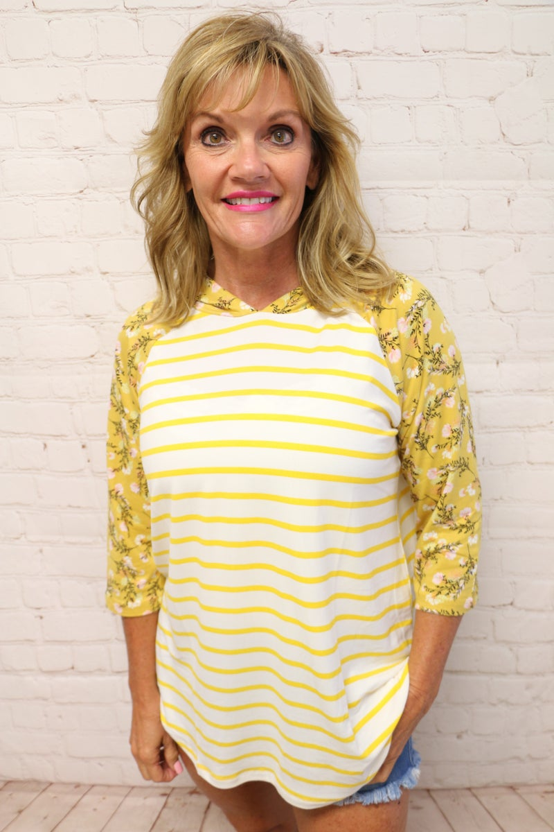 Floral Hooded Striped Quarter Sleeve Top in Multiple Colors - Sizes 4-12