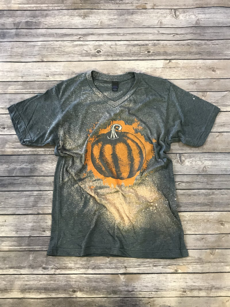 Painted Orange Pumpkin on Bleach Splatter Short Sleeve Charcoal Tee  - Sizes 4-12