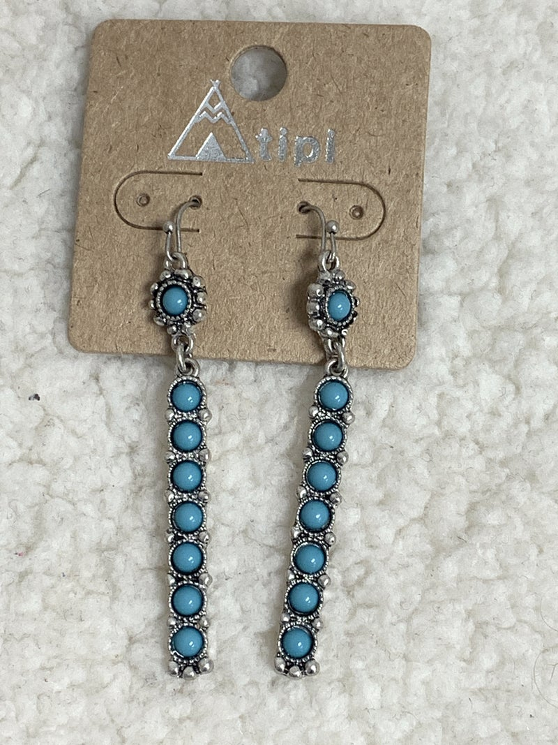 She's The One Silver Rectangle Earring With Turquoise Beads