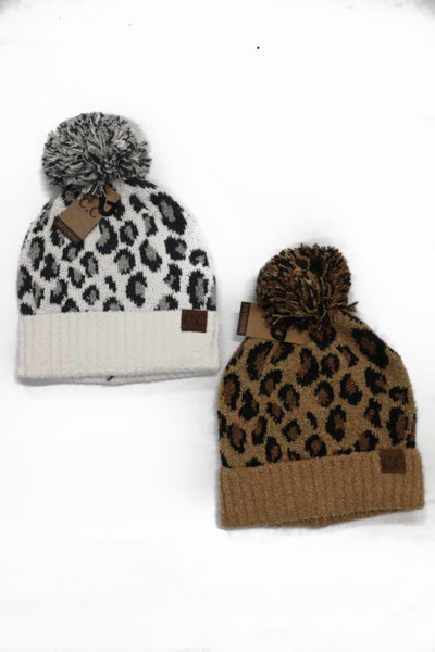 Soft & Sweet Leopard Jacquard Knit Beanie With Pom