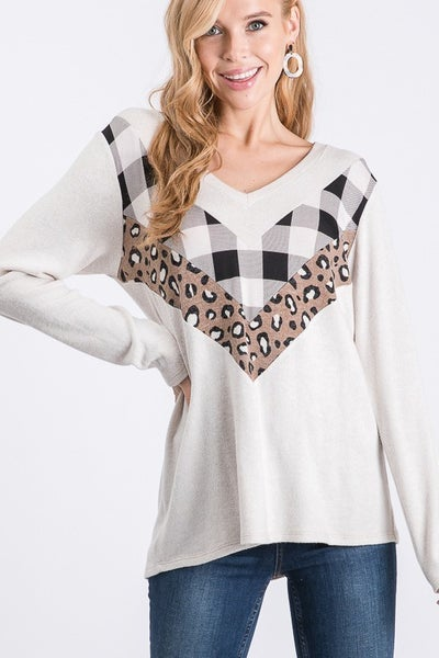 Take Me Out Buffalo Check and Leopard Chevron Top in Multiple Colors - Sizes 4-20