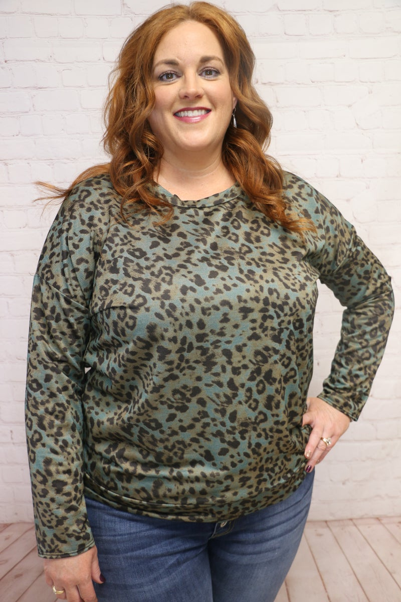 Gotta Let You Know Green Leopard Twill Long Sleeve Top - Sizes 12-20