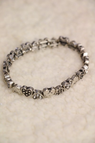 With Love Silver Heart Stretch Bracelet