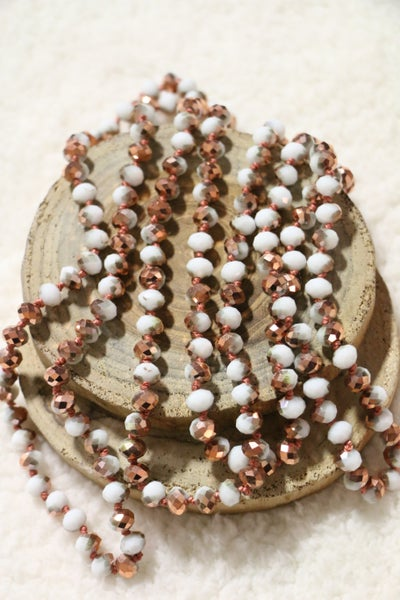 Rose Gold Snow Point Of Perfection Beaded Necklace