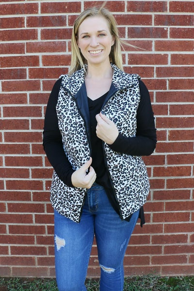 Perfect in Every Way White Leopard Puffer Vest - One Size
