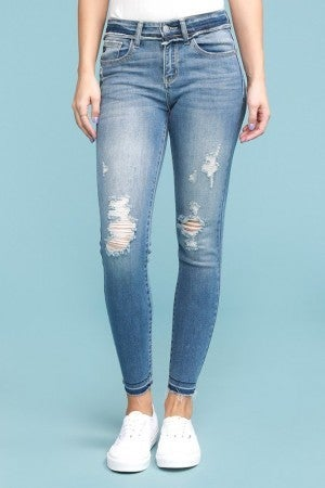 The Tammy Mid Rise Skinny Fit Judy Blue Jeans With Raw Hem in Medium Denim