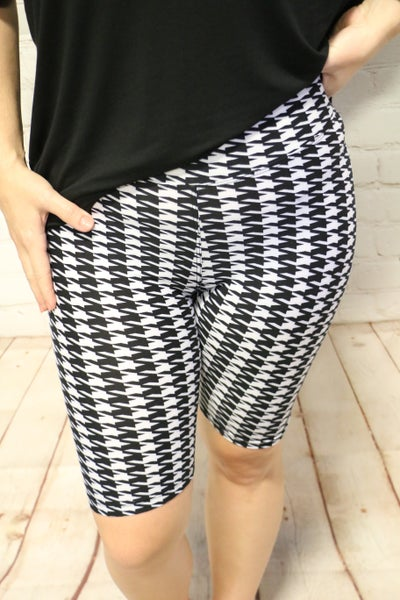 High Waist Houndstooth Print Black and White Biker Shorts - Size 4-20