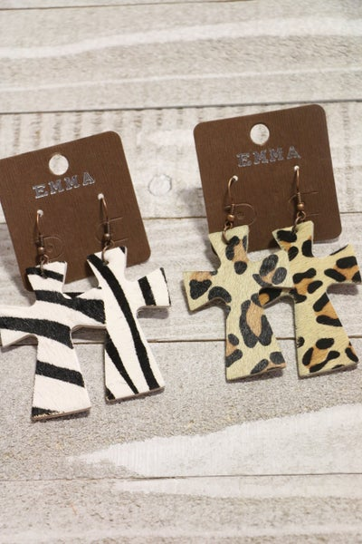 In The Jungle Leather Cross Earrings In Multiple Colors