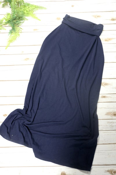 Zenana Navy Maxi Skirt In Medium
