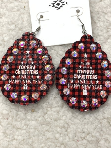 We Wish You A Merry Christmas Scalloped Red Buffalo Plaid Teardrop Earring With Bling