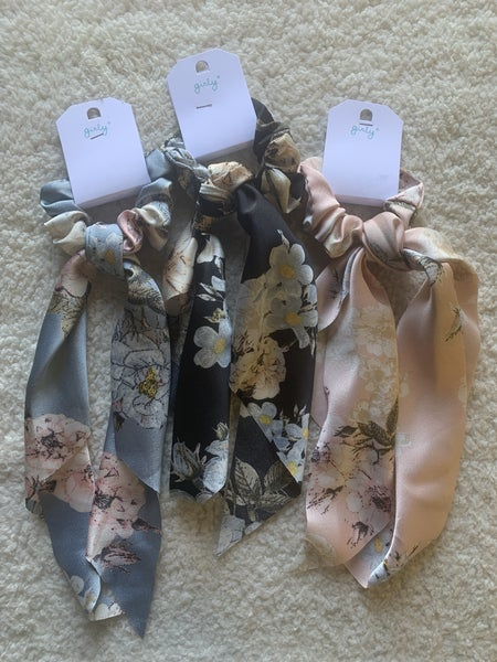 Around Town Floral Scrunchie Hair Scarf In Multiple Colors