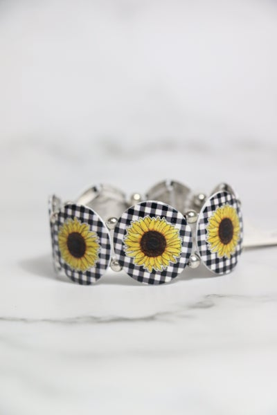 Whenever You Smile Sunflower and Buffalo Check Circle Stretch Bracelet