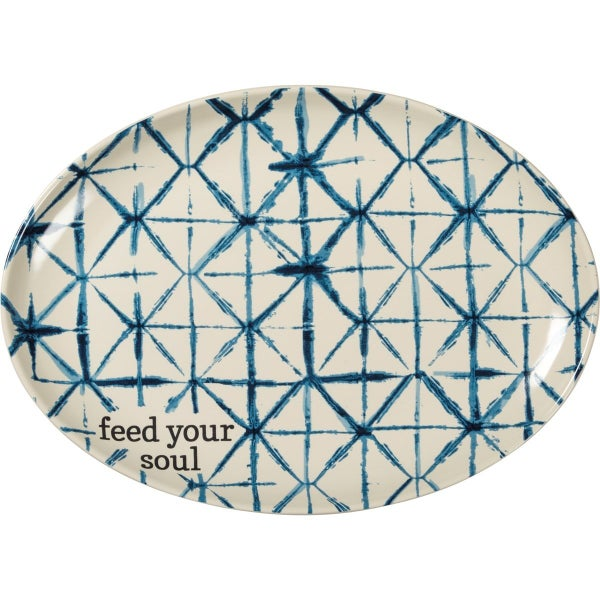 Feed Your Soul Blue & White Stoneware Platter