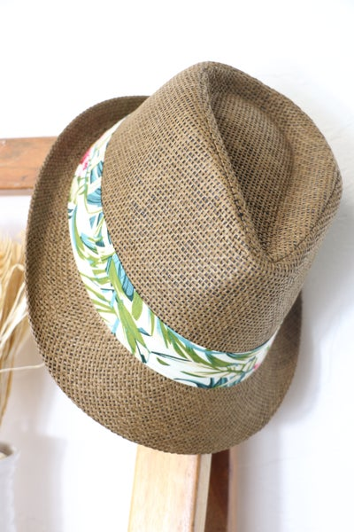 Tropical Fun Straw Fedora With Tropical Print Band In Multiple Colors