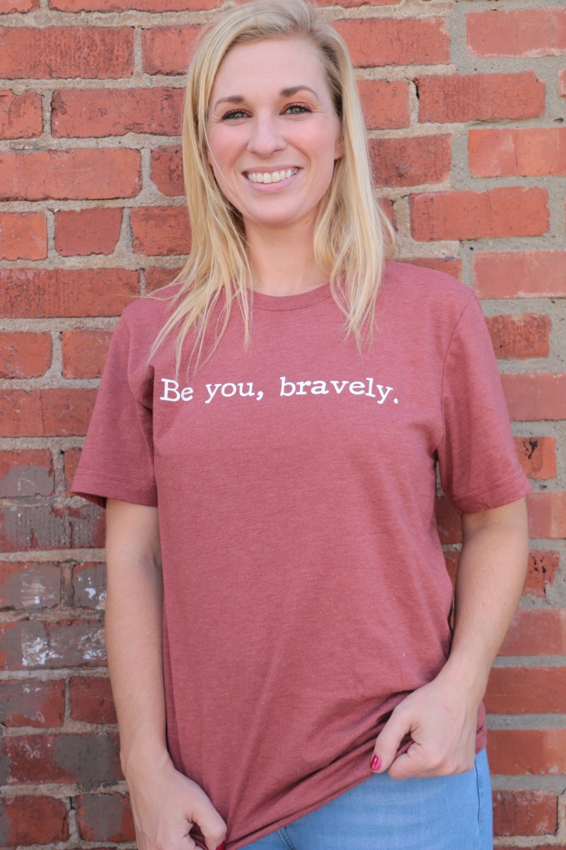 ***PRE-ORDER***Be You Bravely Graphic Tee In Rust - Sizes 4-20
