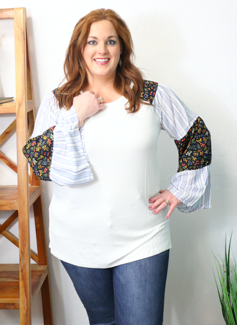 Believe in Yourself White Raglan with Floral and Striped Accent Sleeve - Sizes 12-20