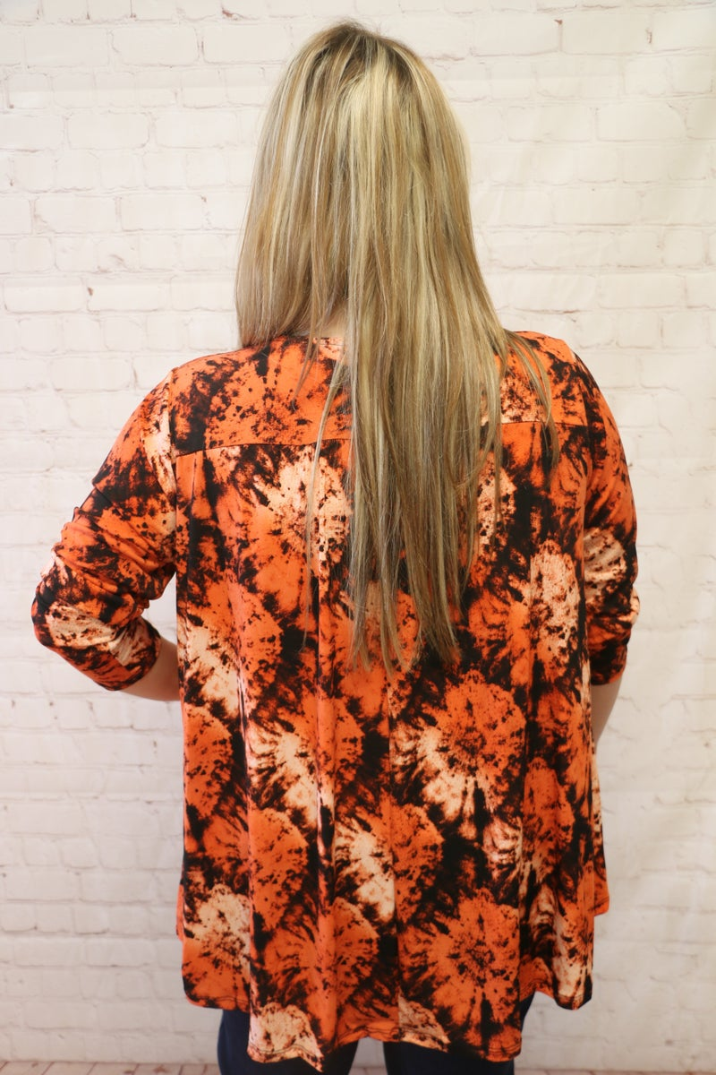 You are the Sunshine Rust Tie Dye V-Neck Tunic - Sizes 12-20