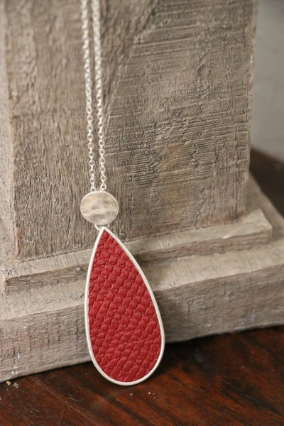 Yesterday Long Silver Necklace With Burgundy Snakeskin Teardrop Pendant