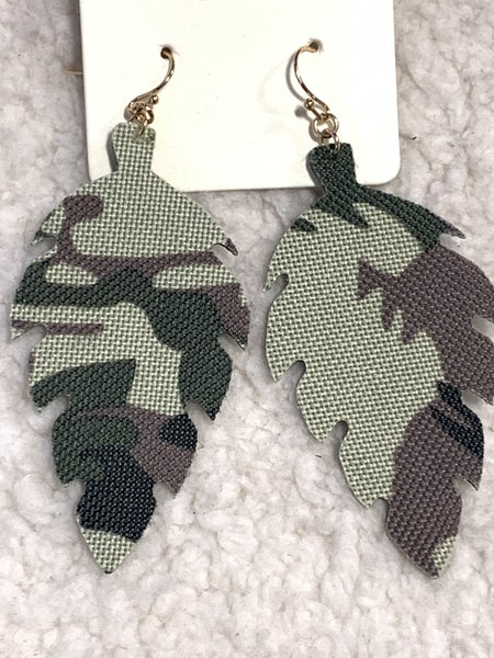 Fall Leaves Camo Leaf Shape Earring