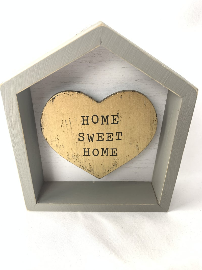 Home Sweet Home Box Sign With Gold Heart Inset