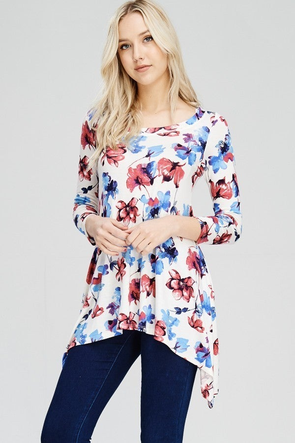 So Much To Love Floral Sharkbite Hem Top - Sizes 4-10