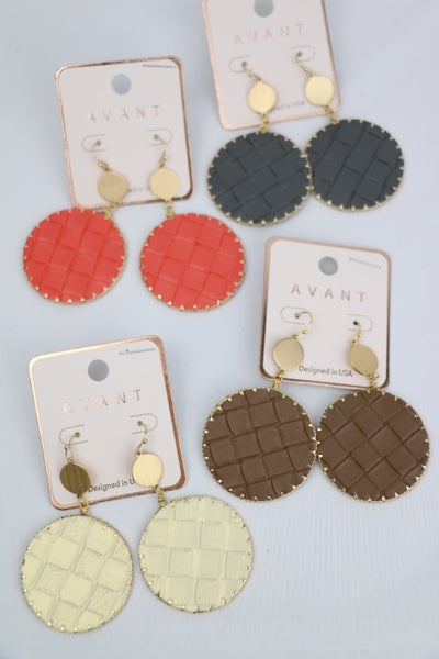 Hello Round Leather Basket Weave Earring In Multiple Colors