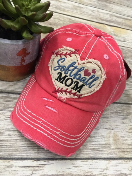Softball Mom Distressed Ball Cap In Coral