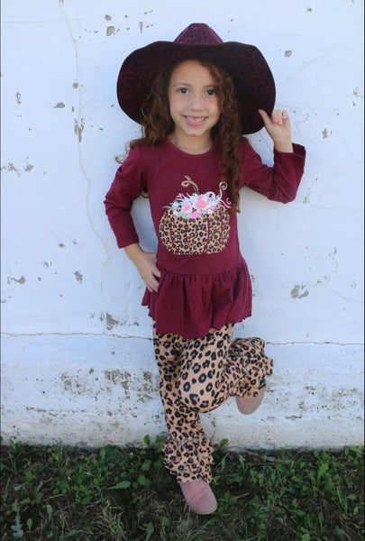 Cutest Pumpkin in the Patch Leopard Pumpkin Burgundy Top with Matching Leopard Pant - Sizes 6M - 8Y