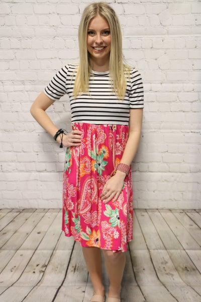 Bright New Day White Striped Short Sleeve Dress with Floral and Paisley Contrast Bottom-Sizes-4-10