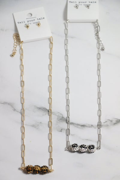 Altogether Link Necklace With 3 Leopard Shimmer And Shine Beads In Multiple Colors