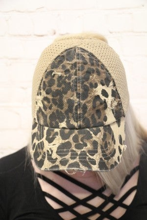 Bring Your 'A' Game Distressed Ultralight Weight Pony Tail Baseball Cap with Elastic Band