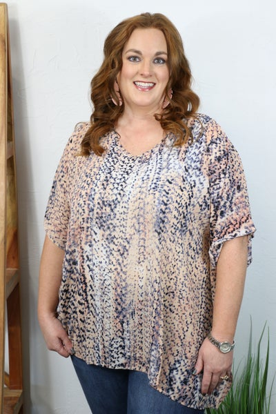 On the Move Coral Animal Print Tunic Top - Sizes 12-20