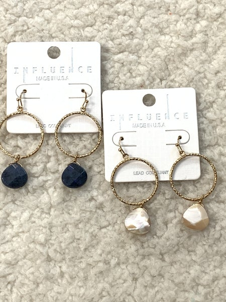 Fancy Free Gold Hoop Earring With Stone Pendant In Multiple Colors