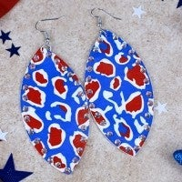 Searching for Freedom Red, White and Blue Faux Leather Teardrop Earring