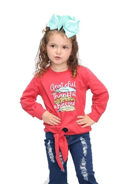 Grateful, Thank, Blessed Red Feather Long Sleeve Tee - Sizes 6M- 8Y