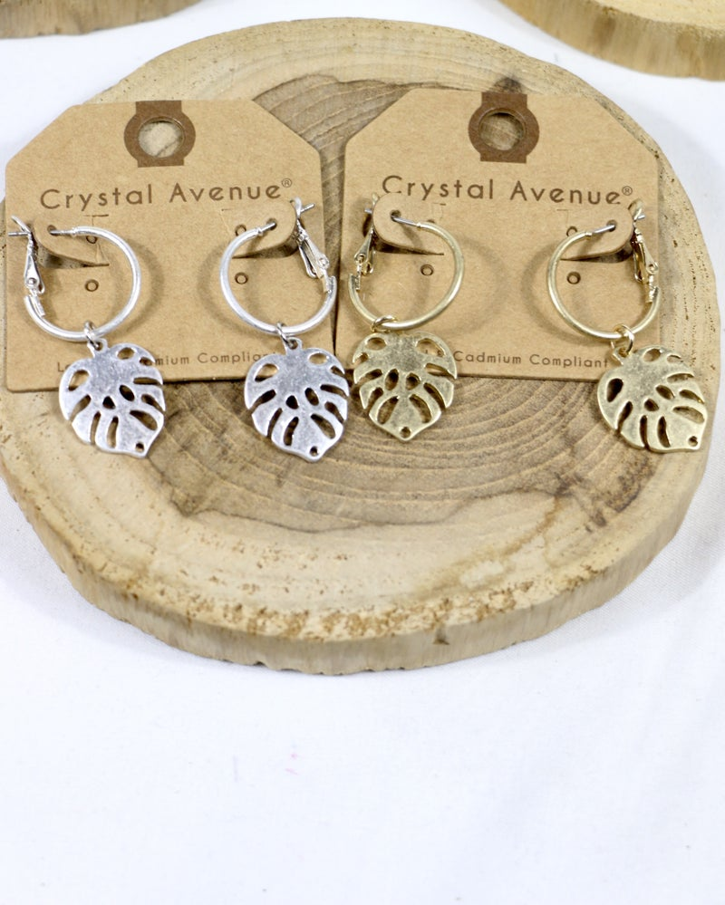 On The Run Hoop Earring With Palmetto Leaf Pendant In Multiple Colors