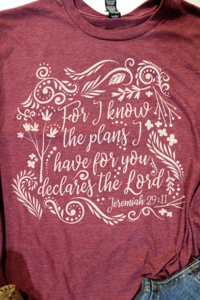For I Know The Plans I Have For You Month Of Ministry Tee- Sizes 4-20