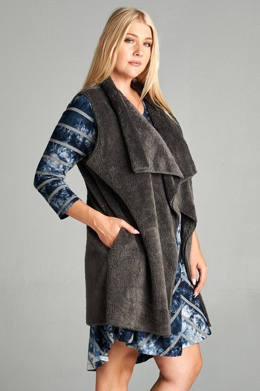 Stay By Your Side Sherpa Vest with Waterfall Collar in Multiple Colors - Sizes 4-20