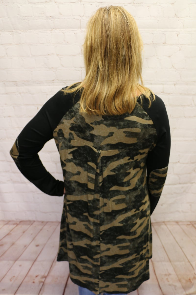 Dancing in the Shadows Olive Camo Raglan with Black Sleeves and Camo Elbow Patch - Sizes 4-10