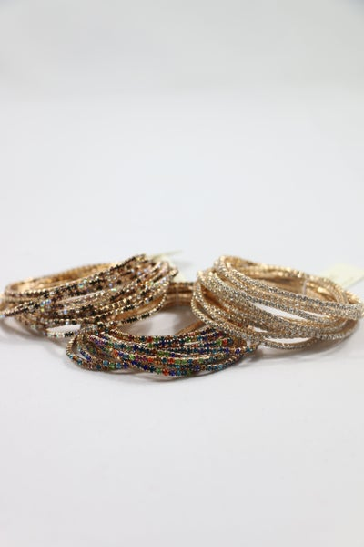 All That Glitters 12 Strand Crystal Stretch Bracelet In Multiple Colors