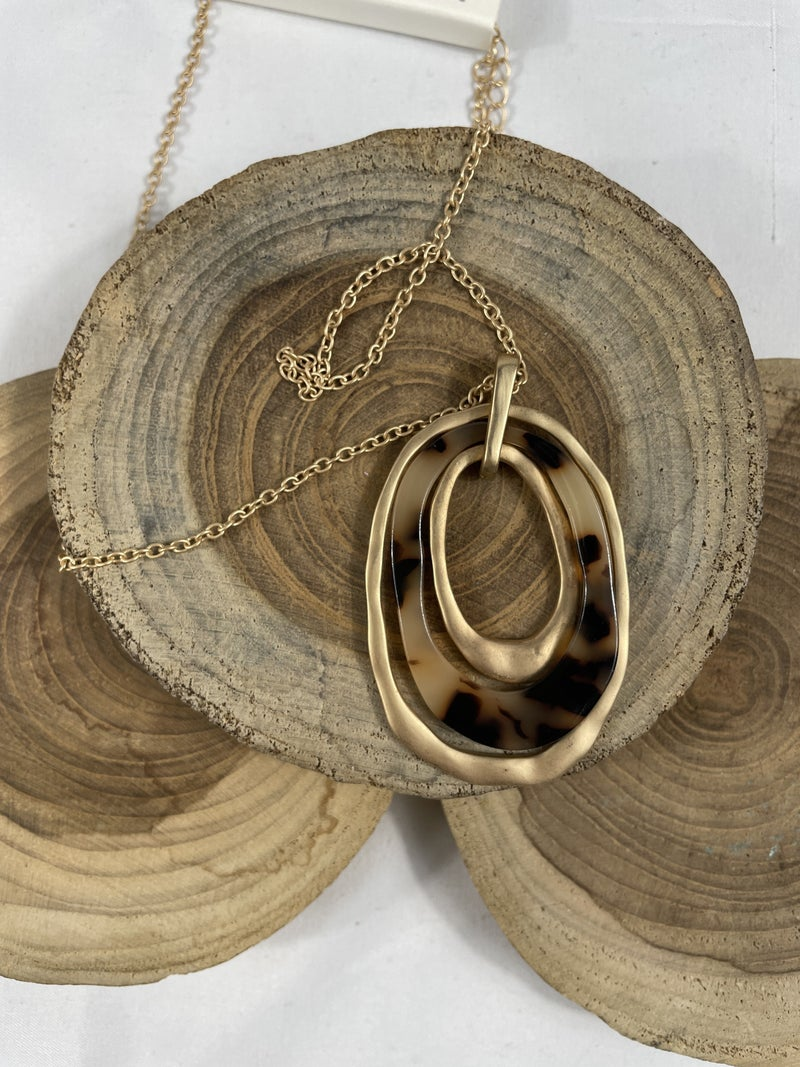 Better Than All The Rest Long Gold Necklace With Gold And Tortoise Rings Pendant