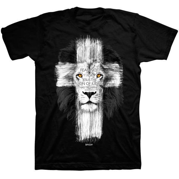 Fear Not Cross/Lion Men's Graphic Tee in Black - Sizes S-4X