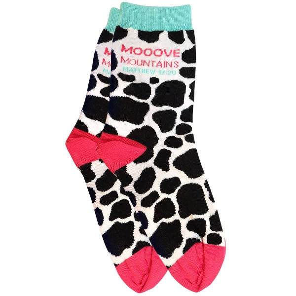 Moooove Mountains Cow Themed Socks - One Size Fits Most