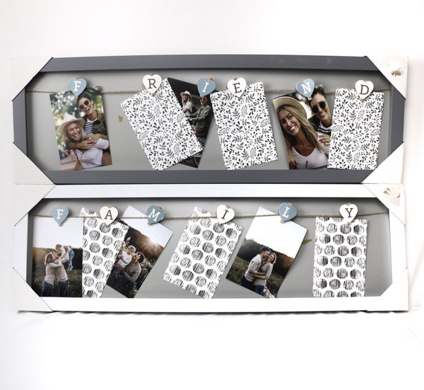 Photo Frame with Twine & Clips for 5 Photos in Multiple Prints