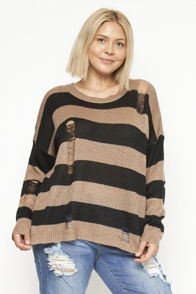 Tell Me Why Mocha Striped Distressed Long Sleeve Top - Sizes 12-20