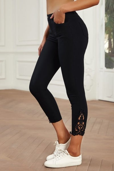 The Frankie Black Capri Jegging with Crochet Accent - Sizes 4-12