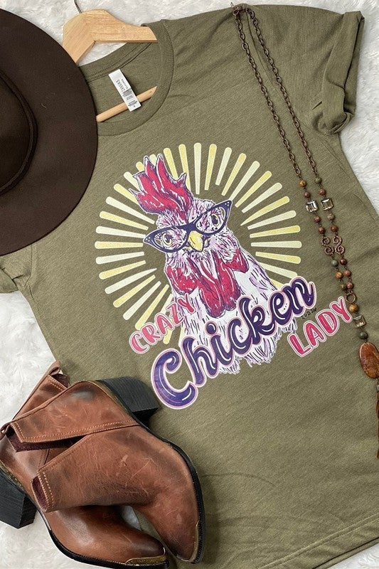 Crazy Chicken Lady Graphic Tee in Multiple Colors - Sizes  4-20 **PRE-ORDER**