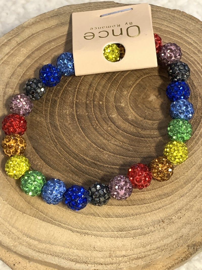 Over The Rainbow Multi Colored Shimmer Bead Stretch Bracelet